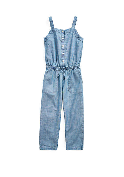 Ralph Lauren Childrenswear Toddler Girls Indigo Chambray Jumpsuit