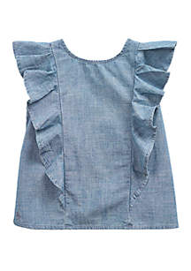 ad4ff67af6 ... Ralph Lauren Childrenswear Toddler Girls Ruffled Indigo Chambray Top
