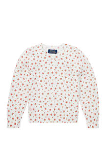Ralph Lauren Childrenswear Toddler Girls Floral Cotton Cardigan