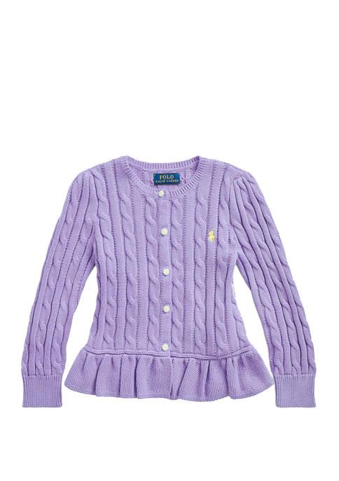Ralph Lauren Childrenswear Toddler Girls Cotton Peplum Cardigan