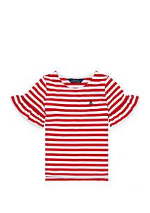 Ralph Lauren Childrenswear Toddler Girls Ruffle-Sleeve Cotton Top