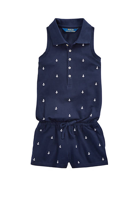 Toddler Girls Anchor Cotton Mesh Romper