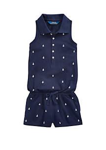 Ralph Lauren Childrenswear Toddler Girls Anchor Cotton Mesh Romper