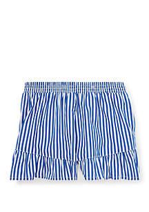 Ralph Lauren Childrenswear Toddler Girls Striped Ruffled Cotton Shorts