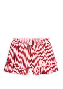 Ralph Lauren Childrenswear Toddler Girls Striped Ruffled Cotton Short