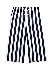Ralph Lauren Childrenswear Toddler Girls Striped Cotton Dobby Pants