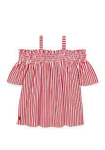 Ralph Lauren Childrenswear Toddler Girls Cotton Off the Shoulder Top