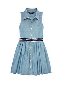 Ralph Lauren Childrenswear Toddler Girls Belted Chambray Shirtdress