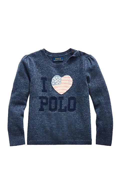Toddler Girls Sparkle Wool Blend Sweater