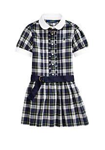 Ralph Lauren Childrenswear Toddler Girls Plaid Cotton Madras Shirtdress