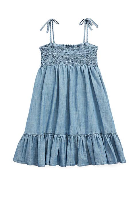 Ralph Lauren Childrenswear Toddler Girls Cotton Chambray Dress