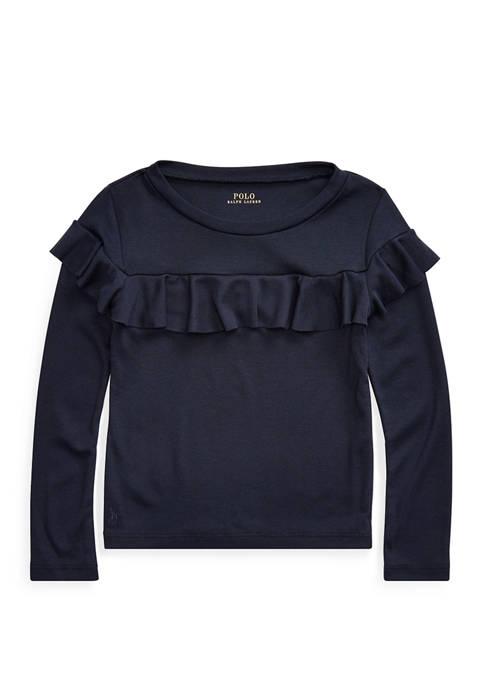 Ralph Lauren Childrenswear Toddler Girls Ruffled Cotton-Modal Top