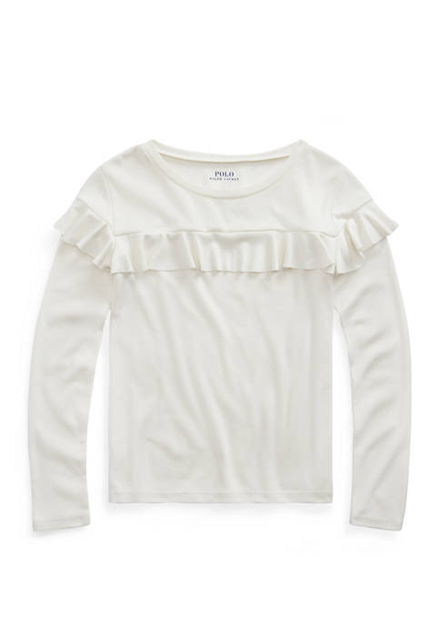 Toddler Girls Ruffled Cotton-Modal Top