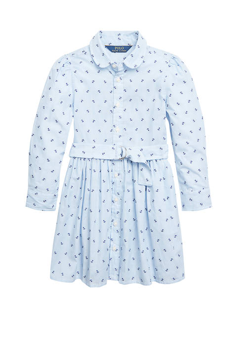 Ralph Lauren Childrenswear Toddler Girls Anchor Cotton Shirtdress