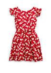 Toddler Girls Floral Flutter-Sleeve Dress
