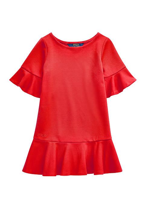 Toddler Girls Polo Ponte Drop Waist Dress