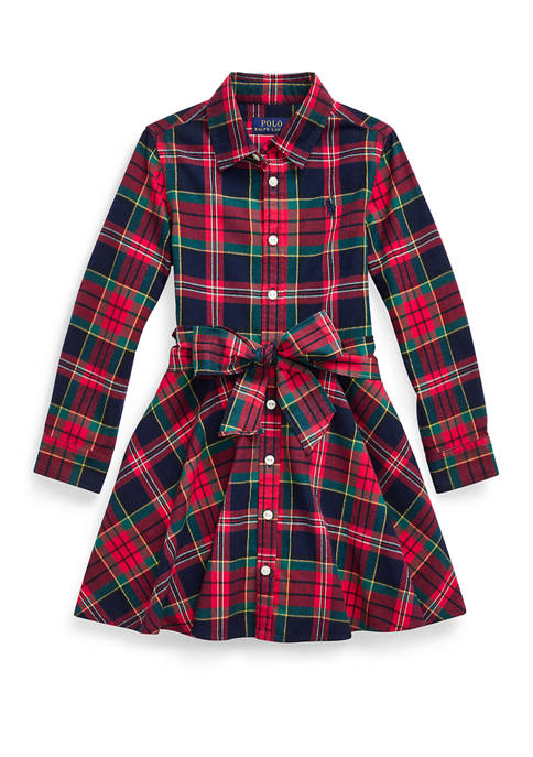 Toddler Girls Plaid Cotton Shirtdress