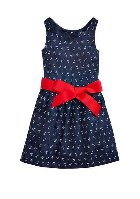 Ralph Lauren Childrenswear Toddler Girls Anchor-Print Twill Dress