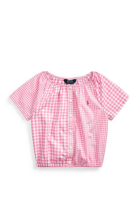 Ralph Lauren Childrenswear Toddler Girls Mixed-Gingham Cotton Top