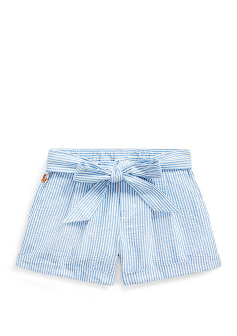 Ralph Lauren Childrenswear Toddler Girls Belted Cotton Seersucker