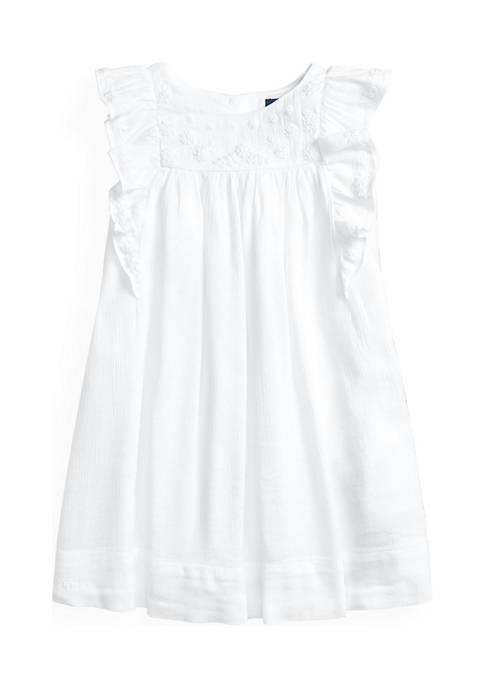 Ralph Lauren Childrenswear Toddler Girls Embroidered Cotton-Blend