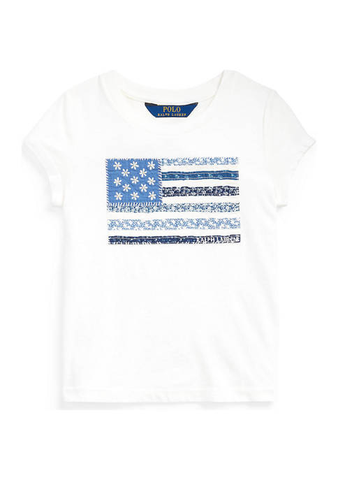 Toddler Girls Floral Flag Cotton Jersey Tee