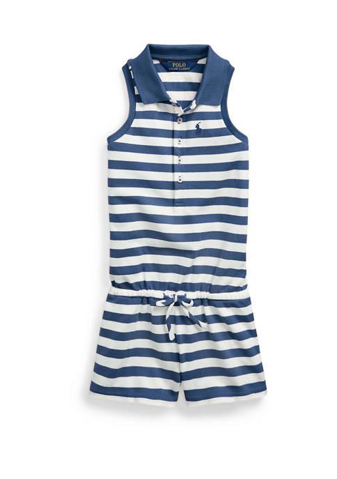 Ralph Lauren Childrenswear Toddler Girls Striped Mesh Polo
