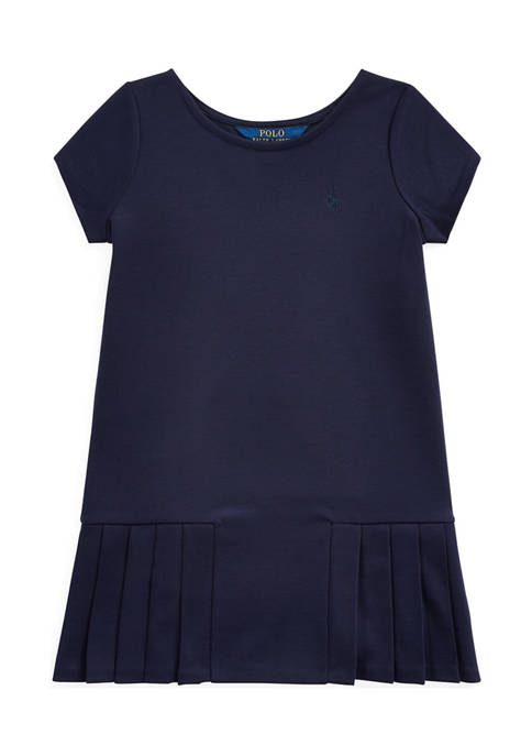Toddler Girls Lightweight Ponte Pleated Dress