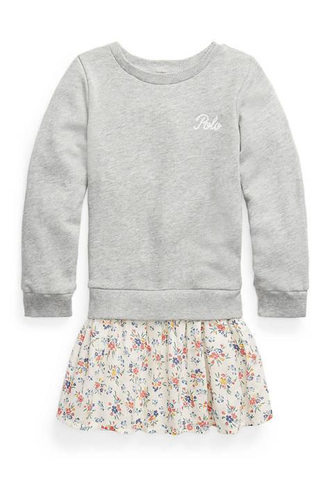 Toddler Girl Plaid-Skirt Sweatshirt Dress