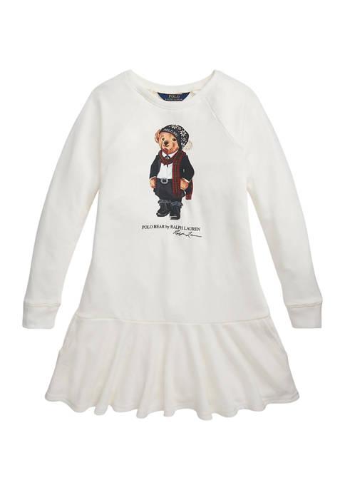 Toddler Girls Tuxedo Bear French Terry Dress