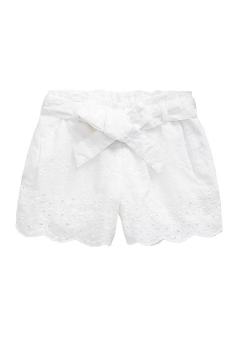 Ralph Lauren Childrenswear Toddler Girls Belted Eyelet Cotton