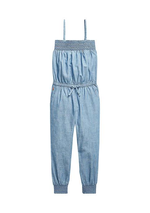 Ralph Lauren Childrenswear Toddler Girls Smocked Indigo Dyed