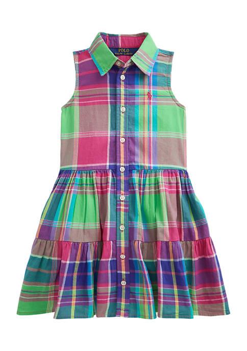 Ralph Lauren Childrenswear Toddler Girls Cotton Madras Shirtdress
