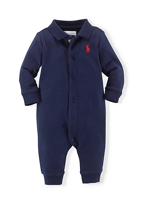 Baby Boys Long Sleeve Solid Coverall