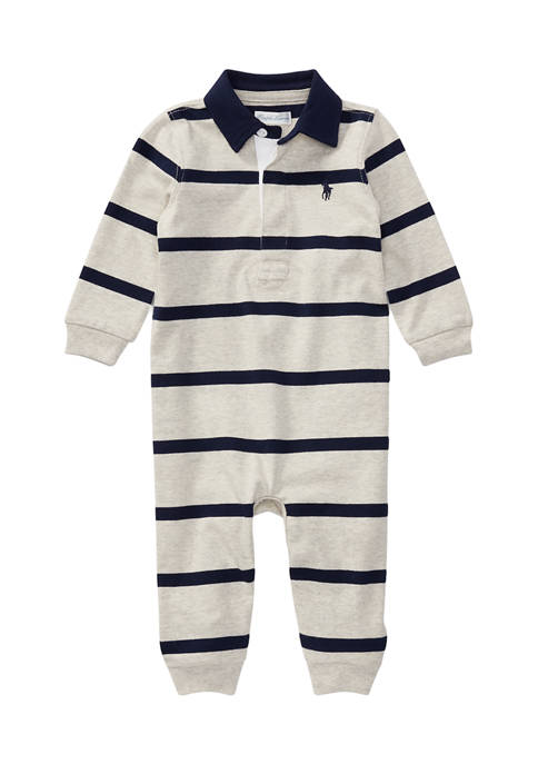Baby Boys Long Sleeve Striped Coverall