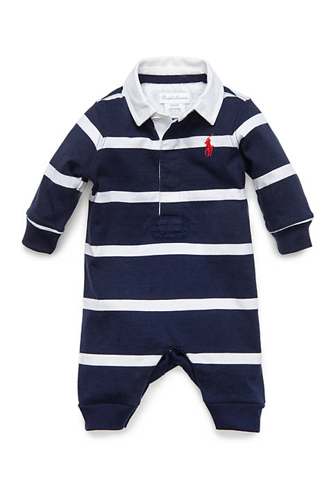 Ralph Lauren Childrenswear Baby Boys Rugby Stripe Coverall