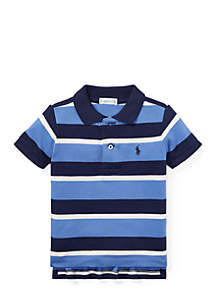 Infant Boys Striped Featherweight Cotton Mesh Polo Shirt