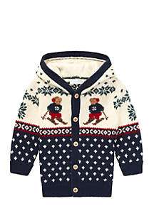 Infant Boys Ski Bear Cotton-Wool Cardigan
