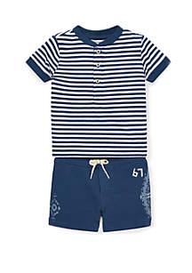 Ralph Lauren Childrenswear Baby Boys Cotton Henley and Short Set