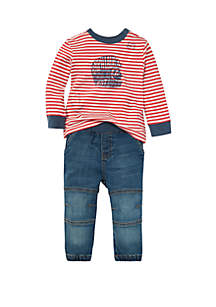 Baby Boys Striped Tee & Jean Jogger Set