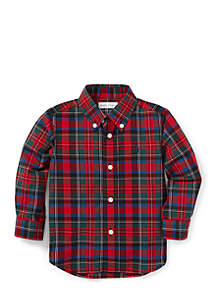 Infant Boys Plaid Cotton Poplin Shirt