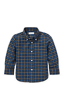 Infant Boys Plaid Cotton Twill Shirt