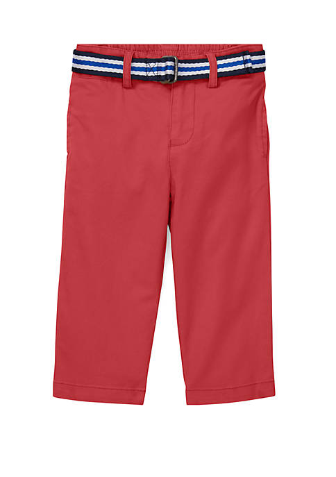 Baby Boys Belted Stretch Cotton Chinos