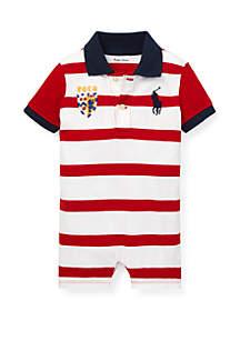 Ralph Lauren Childrenswear Baby Boys Striped Cotton Polo Shortall