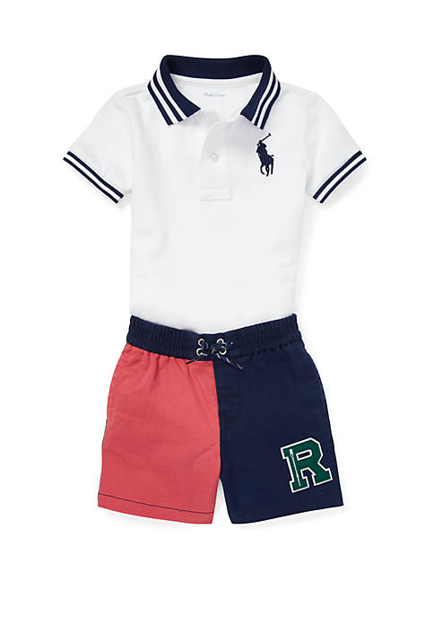 Baby Boys Mesh Polo and Twill Short Set