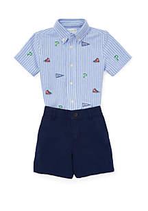 Ralph Lauren Childrenswear Baby Boys Knit Oxford Shirt & Short Set