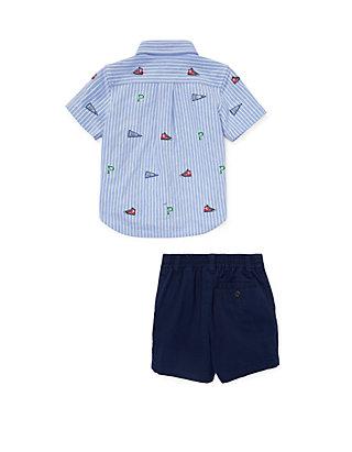 daebd2809 ... Ralph Lauren Childrenswear Baby Boys Knit Oxford Shirt & Short Set