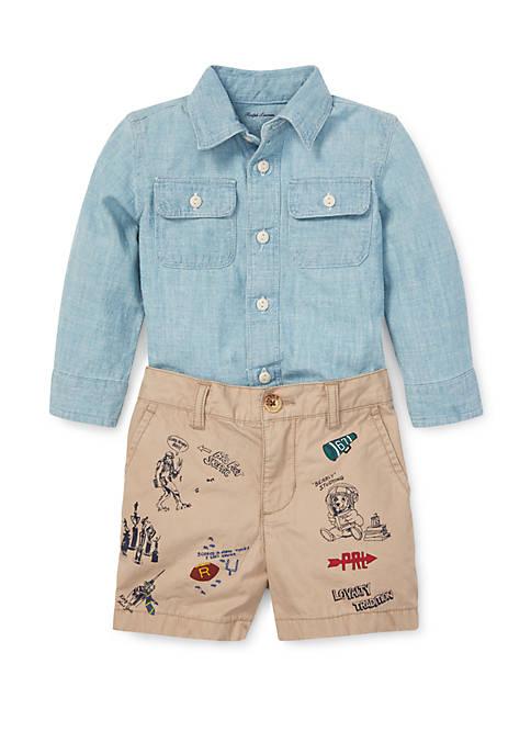 Baby Boys Chambray Shirt and Short Set
