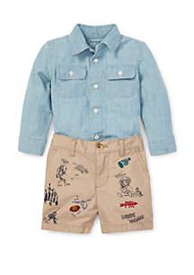 Ralph Lauren Childrenswear Baby Boys Chambray Shirt and Short Set