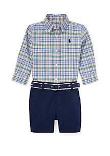 Ralph Lauren Childrenswear Baby Boys Plaid Shirt, Belt & Short Set